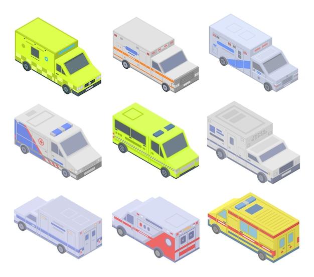 Conjunto de iconos de ambulancia, estilo isométrico