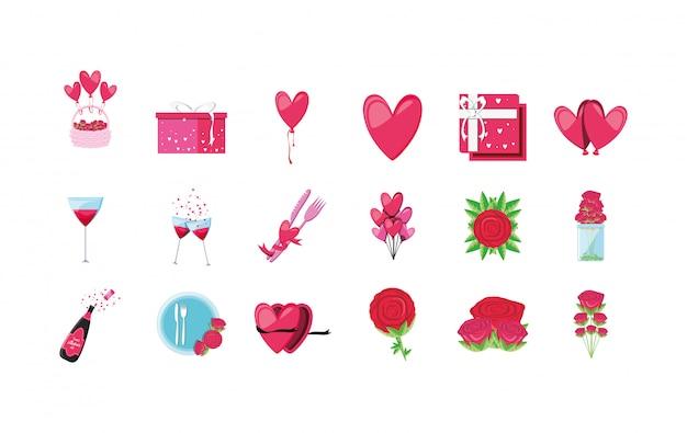Conjunto de iconos de amor y día de san valentín