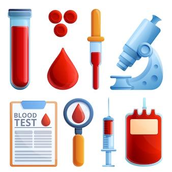 Conjunto de iconos de análisis de sangre, estilo de dibujos animados