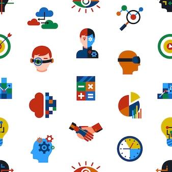 Conjunto de iconos de analítica aumentada e innovación tecnológica.