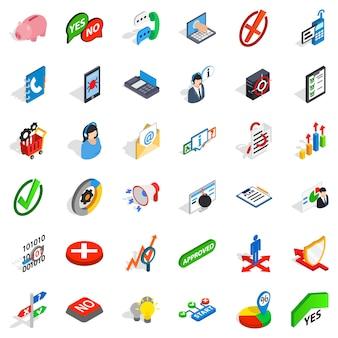 Conjunto de iconos analíticos, estilo isométrico.