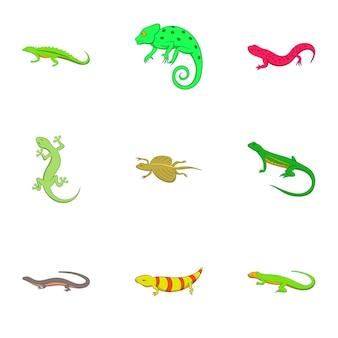 Conjunto de iconos de anfibios, estilo de dibujos animados