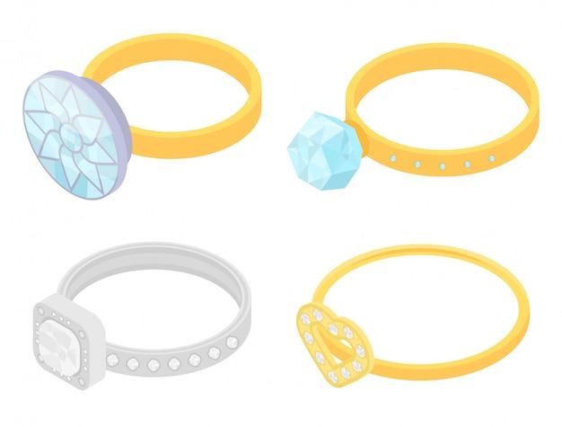 Conjunto de iconos de anillo de diamante, estilo isométrico