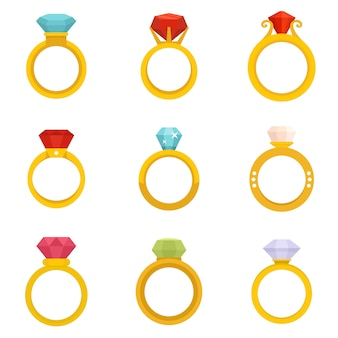 Conjunto de iconos de anillo de diamante