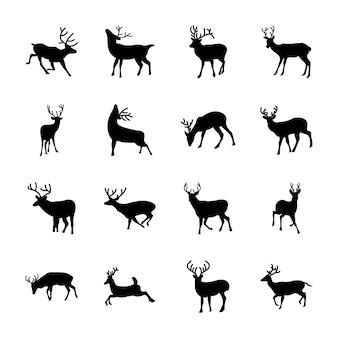 Conjunto de iconos de animales ciervos