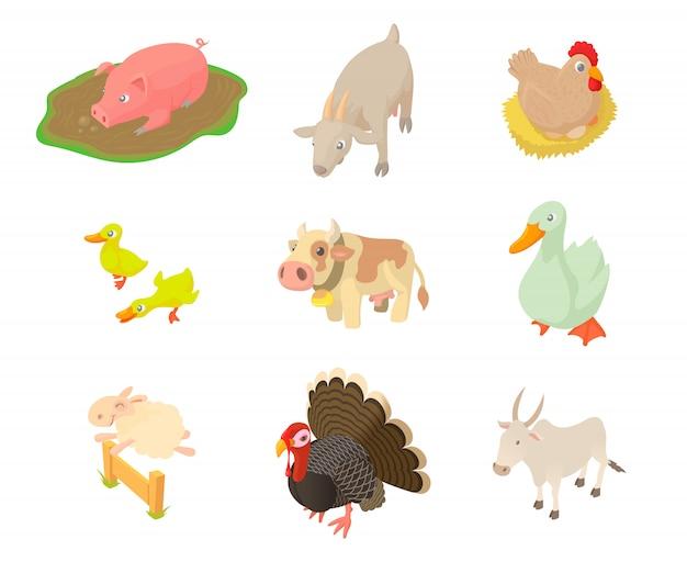 Conjunto de iconos de animales domésticos