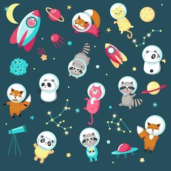 Conjunto de iconos de animales de espacio