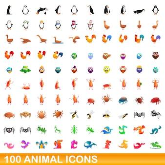Conjunto de iconos de animales, estilo de dibujos animados
