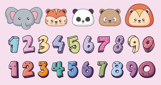 Conjunto de iconos de animales lindos y números kawaii