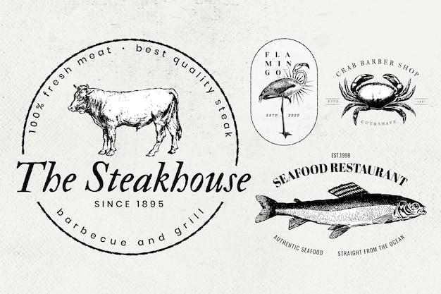 Conjunto de iconos de animales de logotipo de empresa vintage
