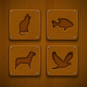 Conjunto de iconos de animales de madera
