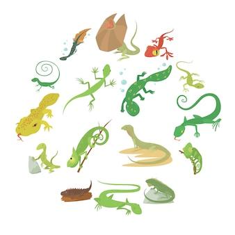Conjunto de iconos de animales tipo lagarto, estilo de dibujos animados