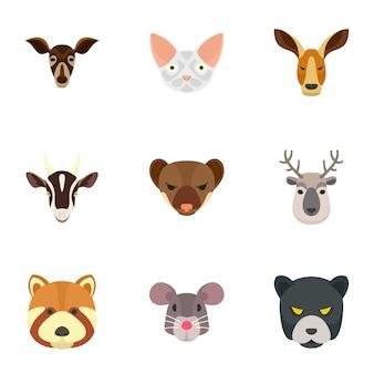 Conjunto de iconos de animales de zoológico, estilo plano