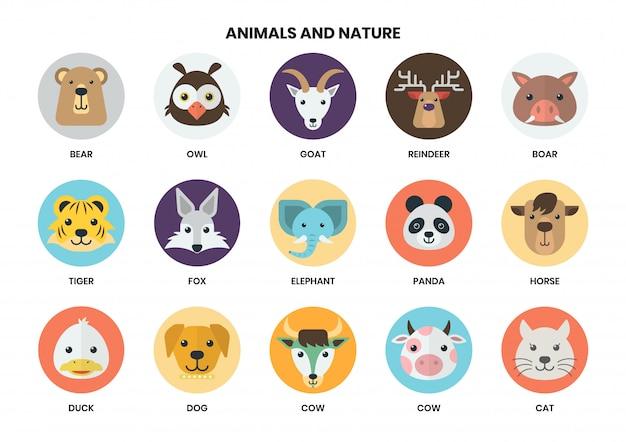 Conjunto de iconos de animales