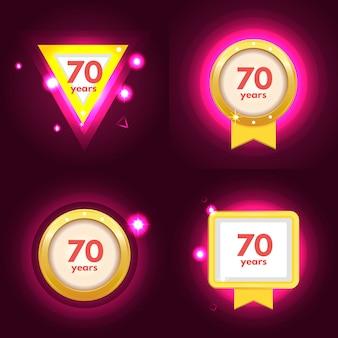 Conjunto de iconos de aniversario 70