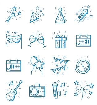 Conjunto de iconos de año nuevo con estilo de contorno