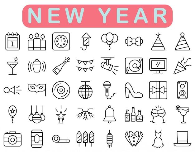 Conjunto de iconos de año nuevo, estilo de contorno