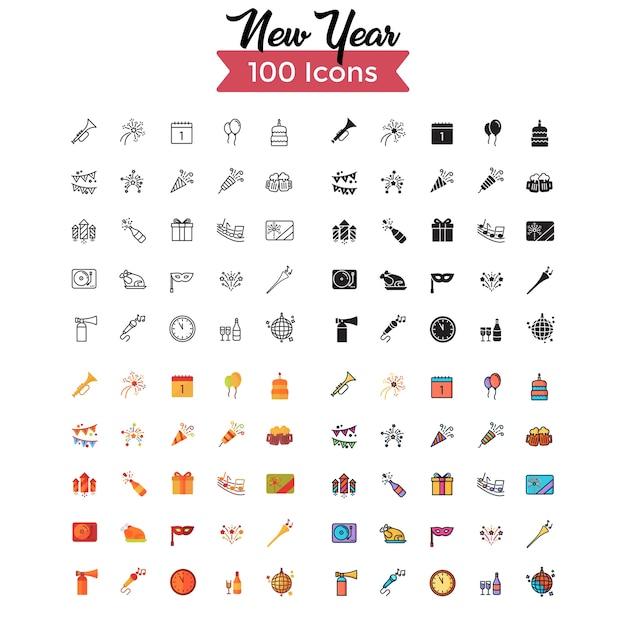 Conjunto de iconos de año nuevo.