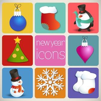 Conjunto de iconos de año nuevo