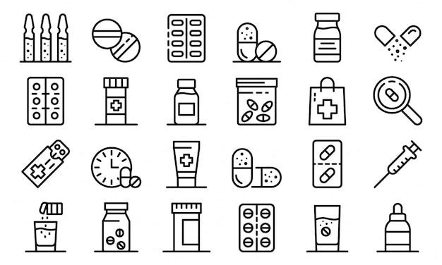 Conjunto de iconos de antibióticos, estilo de contorno