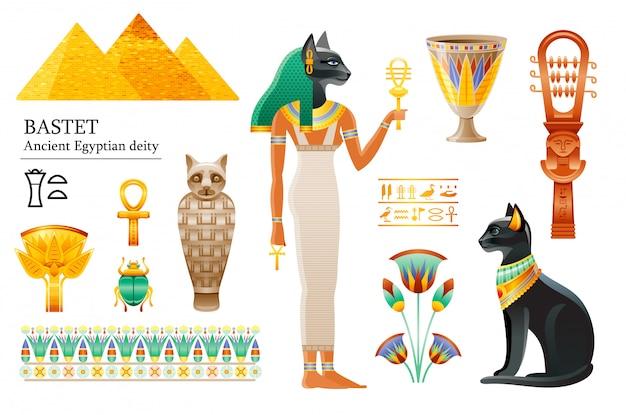 Conjunto de iconos de la antigua diosa egipcia bastet. deidad del gato, taza, flor, momia, sistrum.