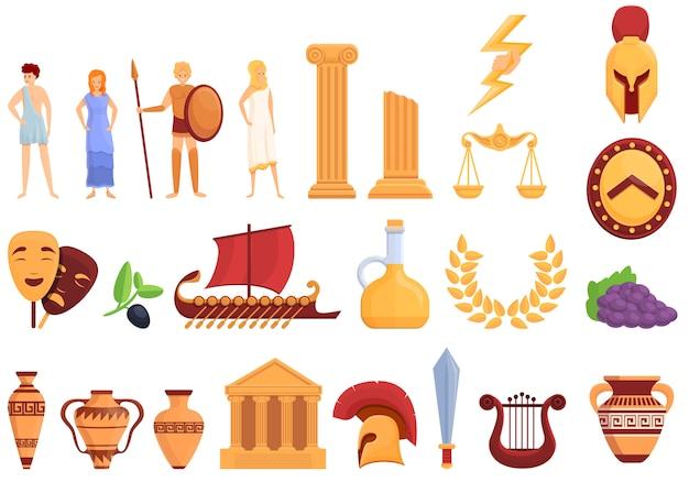 Conjunto de iconos de la antigua grecia, estilo de dibujos animados