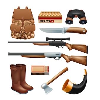 Conjunto de iconos de aparejos y equipo de caza con cuchillos de rifles y kit de supervivencia
