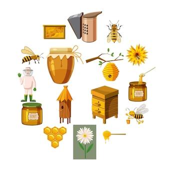 Conjunto de iconos de apiario, estilo de dibujos animados