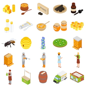 Conjunto de iconos del apiario de miel de propóleos,