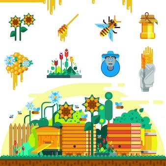 Conjunto de iconos de apiario
