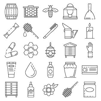 Conjunto de iconos de la apicultura. conjunto de esquema de iconos de vector de apicultura