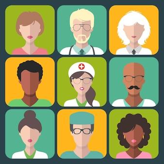 Conjunto de iconos de aplicaciones de hombre y mujer de diferentes clínicas médicas.