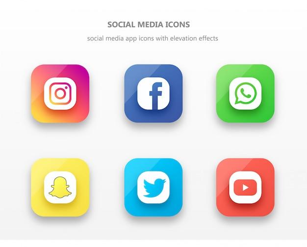 Conjunto de iconos de aplicaciones de medios sociales elevados con sombras y reflejos