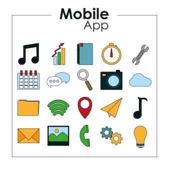 Conjunto de iconos de aplicaciones móviles