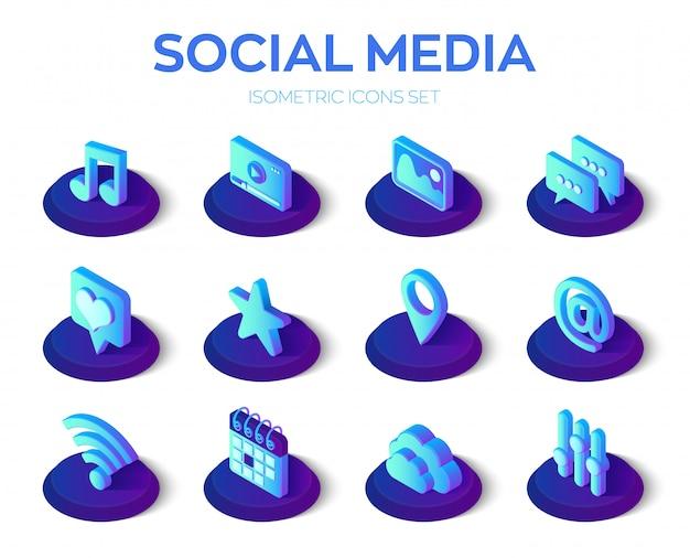 Conjunto de iconos de aplicaciones de redes sociales