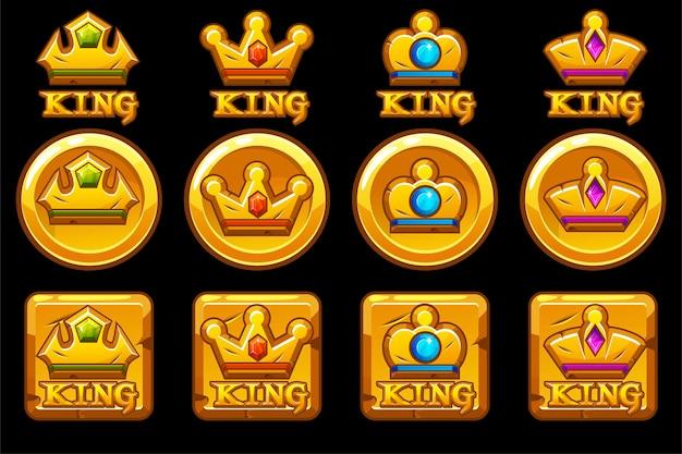 Conjunto de iconos de aplicaciones redondos y cuadrados dorados con coronas
