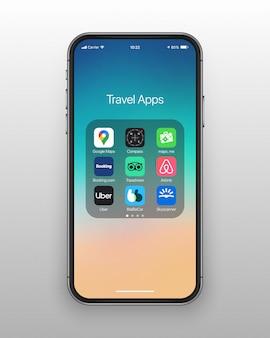 Conjunto de iconos de aplicaciones de viaje de carpeta de teléfono inteligente