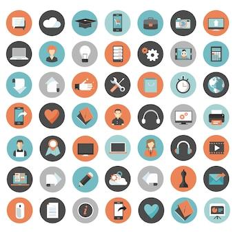 Conjunto de iconos para aplicaciones web y móviles.