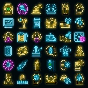 Conjunto de iconos de apoyo a la salud mental. conjunto de esquema de apoyo a los iconos vectoriales de salud mental color neón en negro