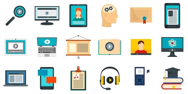 Conjunto de iconos de aprendizaje interactivo