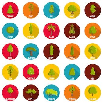 Conjunto de iconos de árbol, estilo plano