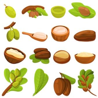 Conjunto de iconos de árbol de karité. conjunto de dibujos animados de iconos de árbol de karité para web