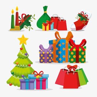 Conjunto de iconos y árbol de navidad
