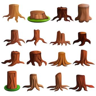 Conjunto de iconos de árbol tocón, estilo de dibujos animados