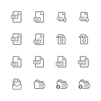 Conjunto de iconos de archivo pdf simple, icono de contorno