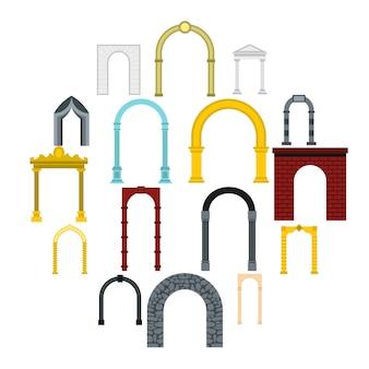 Conjunto de iconos de arco, estilo plano