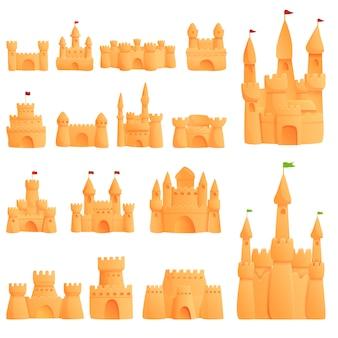 Conjunto de iconos de arena de castillo, estilo de dibujos animados