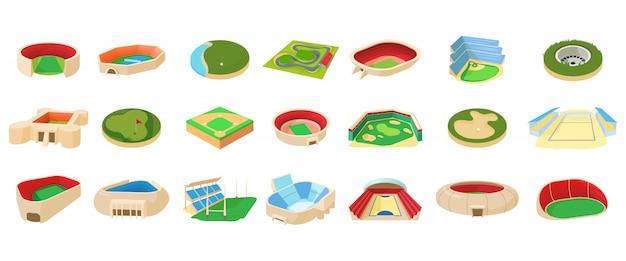 Conjunto de iconos de la arena deportiva