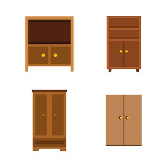 Conjunto de iconos de armario. conjunto plano de colección de iconos de vector armario aislado
