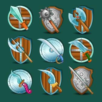 Conjunto de iconos de armas y escudos medievales
